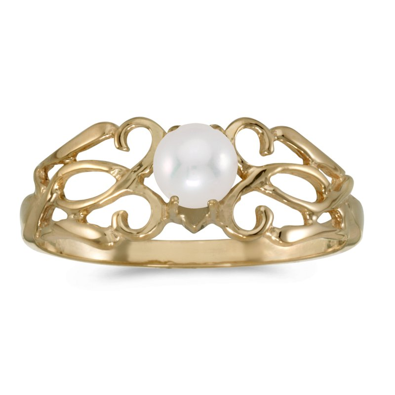 Color Merchants 10k Yellow Gold Pearl Filagree Ring