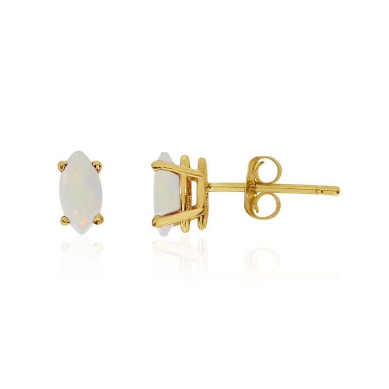 Color Merchants 14k Yellow Gold Opal Marquise Earrings