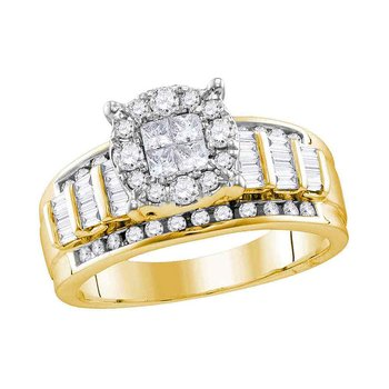 14kt Yellow Gold Womens Princess Round Diamond Soleil Cluster Bridal Wedding Engagement Ring 1.00 Cttw
