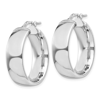 Sterling Silver Rhodium-plated 7.5x25mm Hoop Earrings