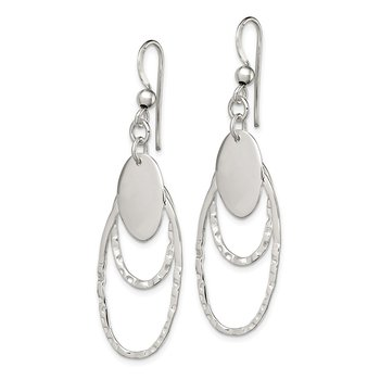 Sterling Silver Polished Textured Fancy Oval Dangle Earrings