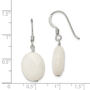 Sterling Silver White Jade Earrings