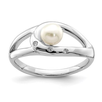 Sterling Silver Rhodium-plated CZ (5-6mm) Button FWC Pearl Ring