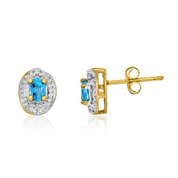 14k Yellow Gold Blue Topaz Earrings with Diamonds
