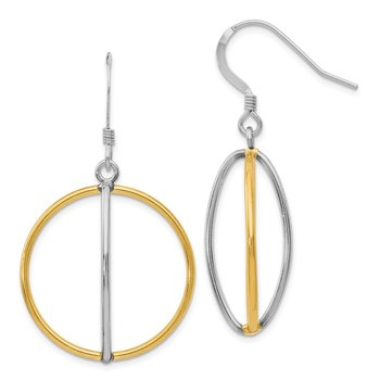 Leslie's Sterling Silver Gold-tone 18k Flash Plated Dangle Earrings