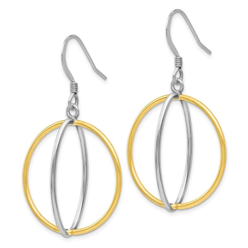 Leslie's Leslie's Sterling Silver Gold-tone 18K Flash-plated Dangle Earrings