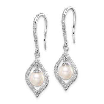 Sterling Silver Rhodium Plated Diamond and FW Cultured Pearl Ear