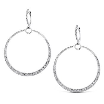 Diamond Circle Earrings in 14k White Gold with 96 Diamonds weighing .56ct tw.