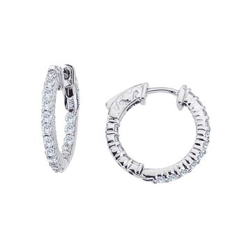 14K White Gold 1 Ct Diamond 20 mm Round Secure Lock Hoop Earrings
