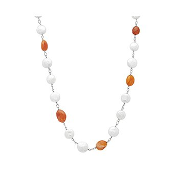 "Honora Sterling Silver 12-14mm White Coin Freshwater Cultured Pearls With Orange Chalcedonyx 18"" Necklace"