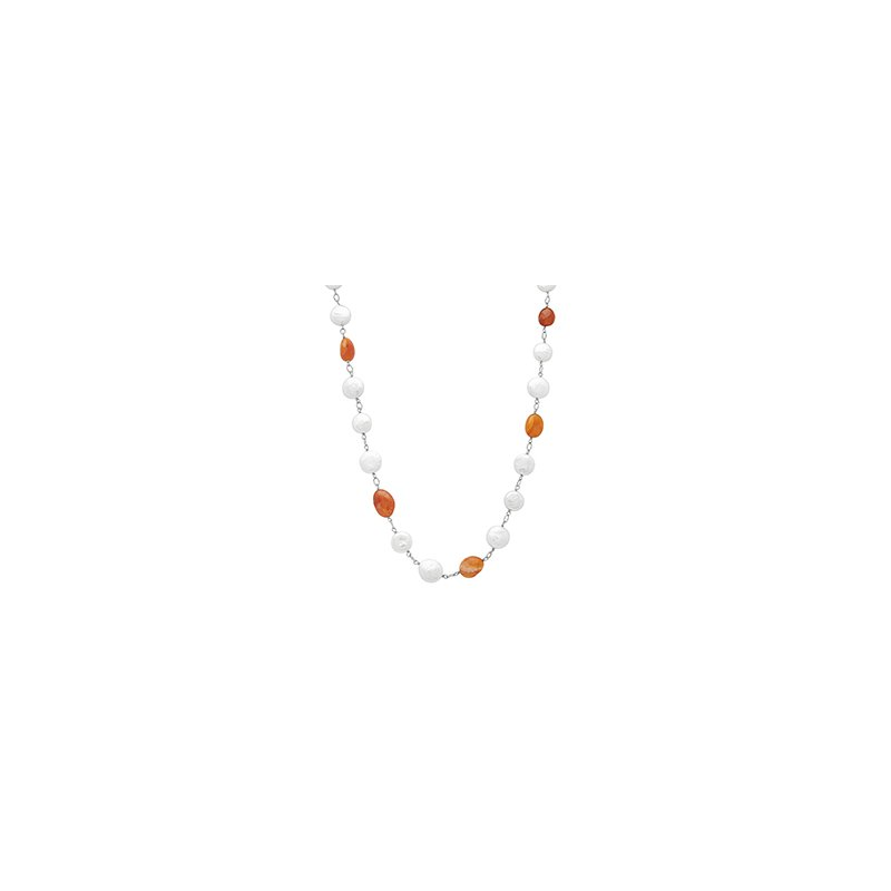 "Honora Honora Sterling Silver 12-14mm White Coin Freshwater Cultured Pearls With Orange Chalcedonyx 18"" Necklace"