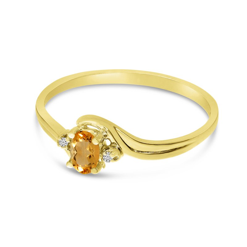 Color Merchants 14k Yellow Gold Oval Citrine And Diamond Ring