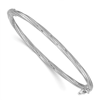 14k White Gold Polished Textured Twisted Hinged Bangle