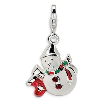 Sterling Silver Enameled Swarovski Element Snowman w/Lobster Clasp Charm