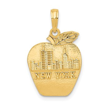 14k Solid NEW YORK Skyline on Small Apple Pendant