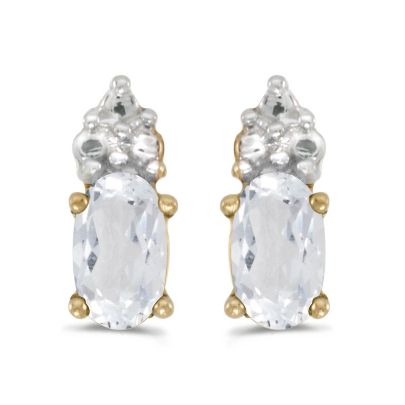 10k Yellow Gold Oval White Topaz Earrings