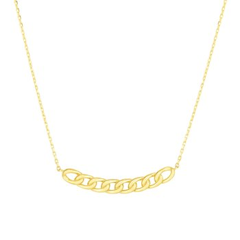 14K Gold Curb Bar Necklace