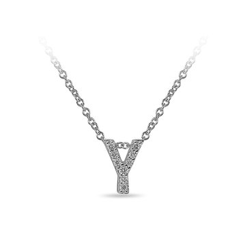 "10K WG and diamond block letters alphabet Y ""chain-sliding"" pendant in prong setting"