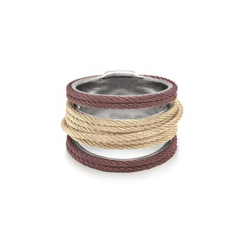 Burgundy & Carnation Cable Simple Stack Ring