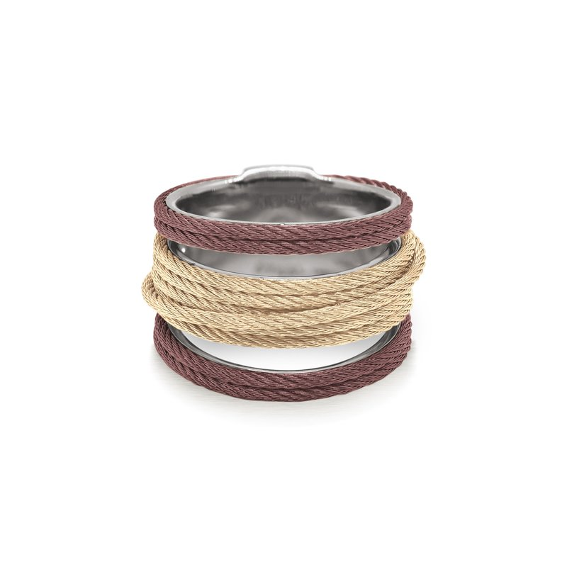 ALOR Burgundy & Carnation Cable Simple Stack Ring
