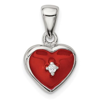 Sterling Silver Rhodium Plated Red Enamel with CZ Heart Pendant
