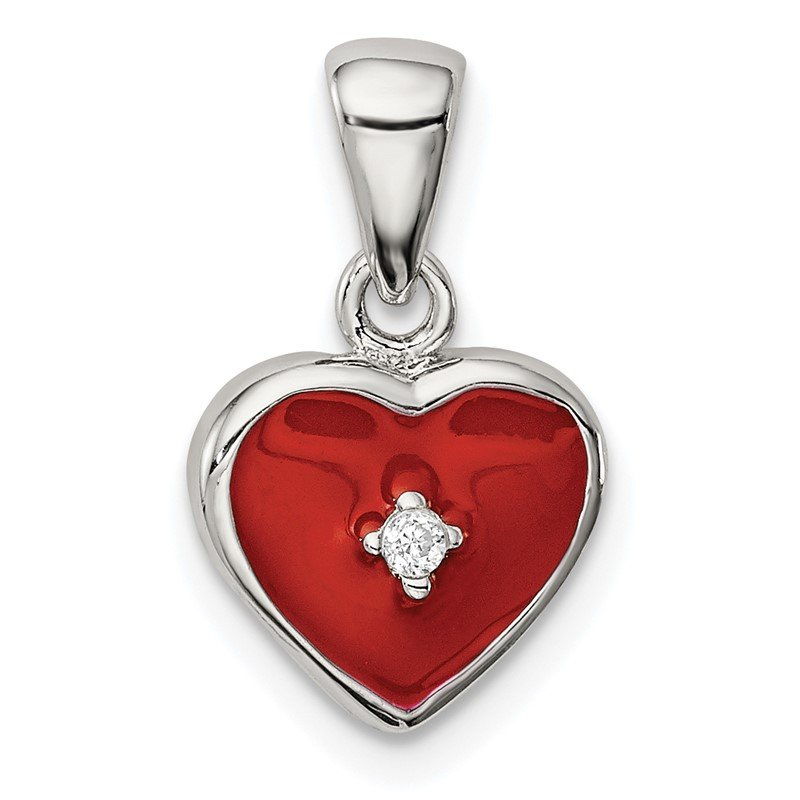 Quality Gold Sterling Silver Rhodium Plated Red Enamel with CZ Heart Pendant