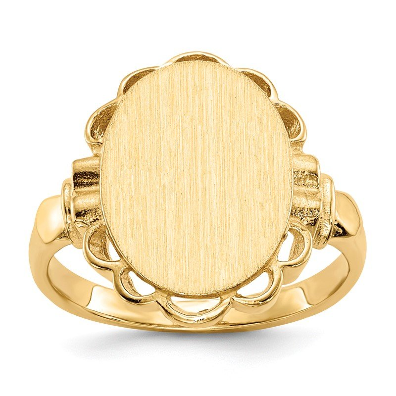 Quality Gold 14k 14.0x10.5mm Open Back Signet Ring