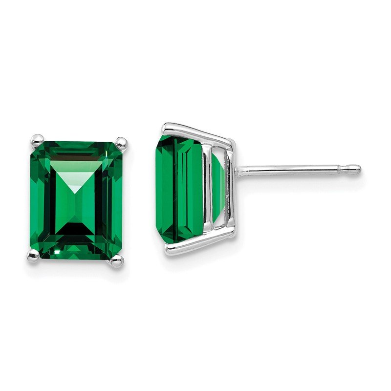 Quality Gold 14k White Gold 9x7mm Emerald Cut Mount St. Helens Earrings