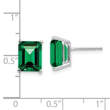 14k White Gold 9x7mm Emerald Cut Mount St. Helens Earrings