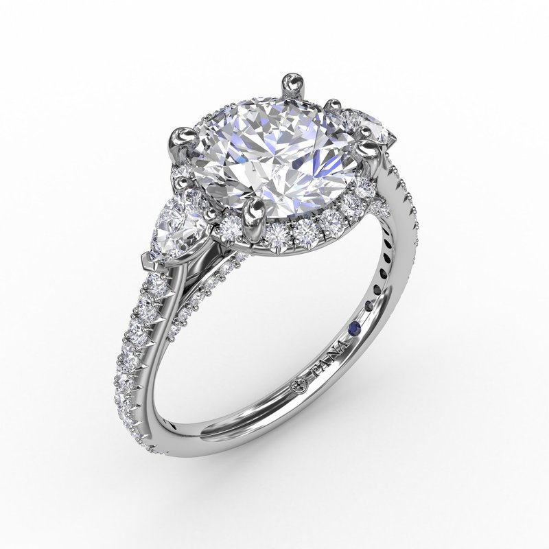 Fana Round Diamond Halo Engagement Ring With Pear-Shape Side Stones