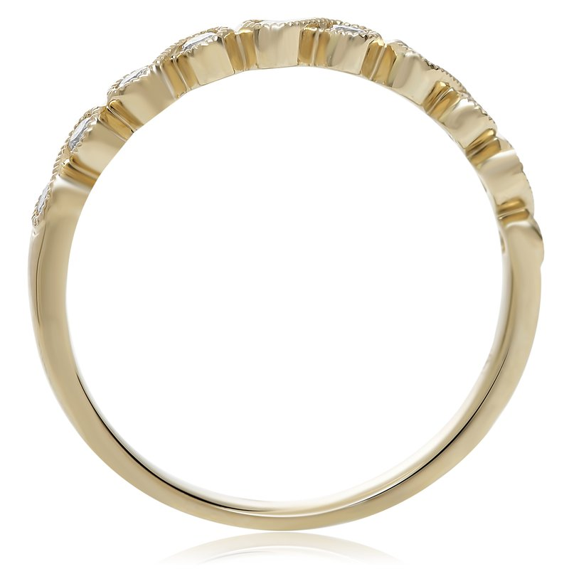 Roman & Jules Yellow Gold Milgrain Diamond Ring