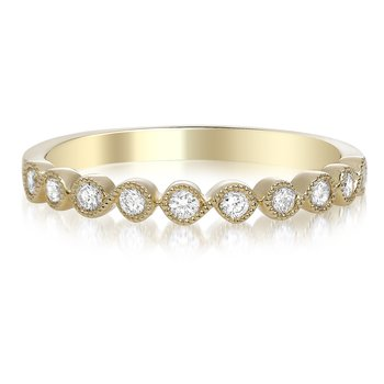 Yellow Gold Milgrain Diamond Ring