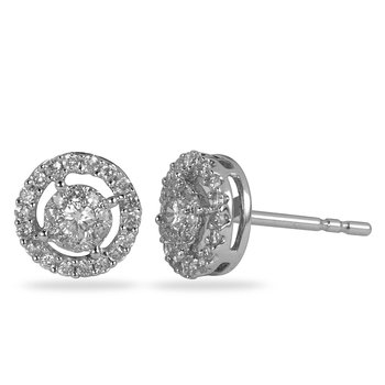 14K WG Diamond Cluster Galaxy Ear Studs Halo Look