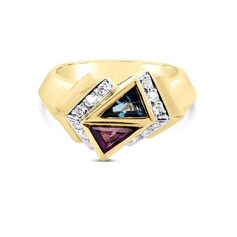 14K Yellow Gold Diamond Amethyst Topaz Retro Fashion Ring