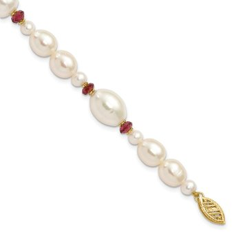 14K White Freshwater Cultured Pearl Faceted 4.0 Garnet Bead Bracelet