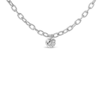 "14K White Gold 0.25 Single Diamond Necklace with 18"" Brushed Chain"