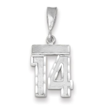 14k White Gold Small Diamond-cut Number 14 Charm