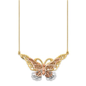 14k Yellow & Rose Gold w/ Rhodium Butterfly Necklace