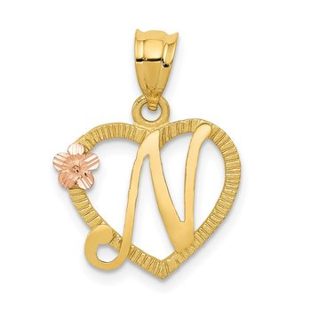 14k Two-Tone Heart Letter N Initial Pendant