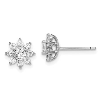 Sterling Silver Rhodium-plated Polished CZ Flower Post Earrings