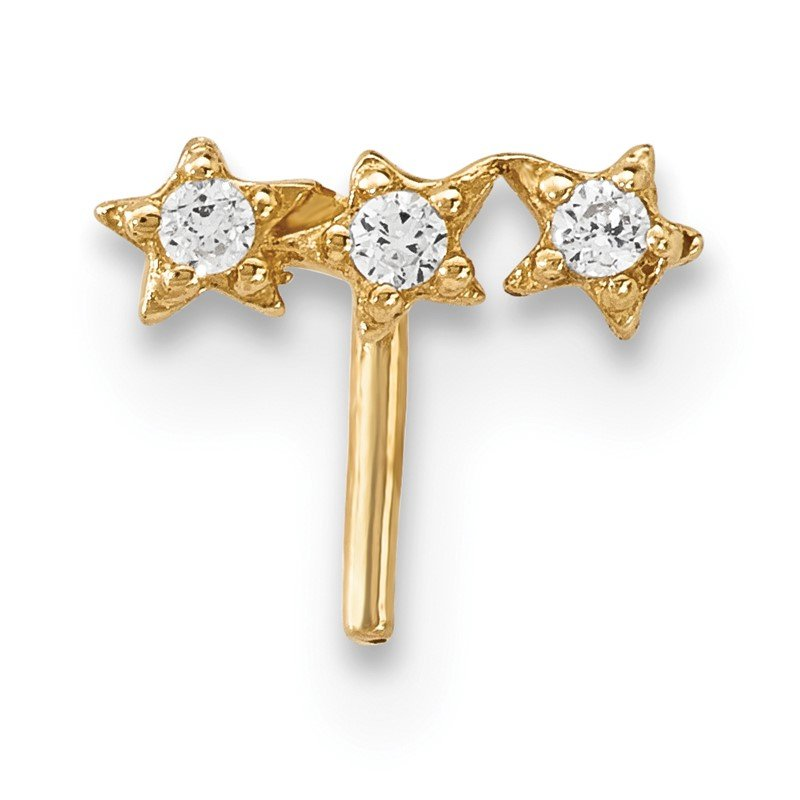 Quality Gold 14k CZ 3-Star Nose Stud
