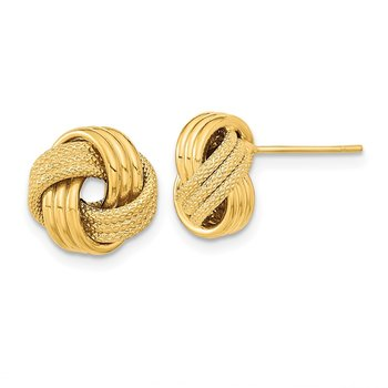 14k Polished Textured Triple Love Knot Post Earrings