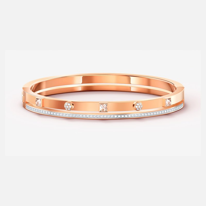 Swarovski Thrilling Bangle, White, Rose-gold tone plated
