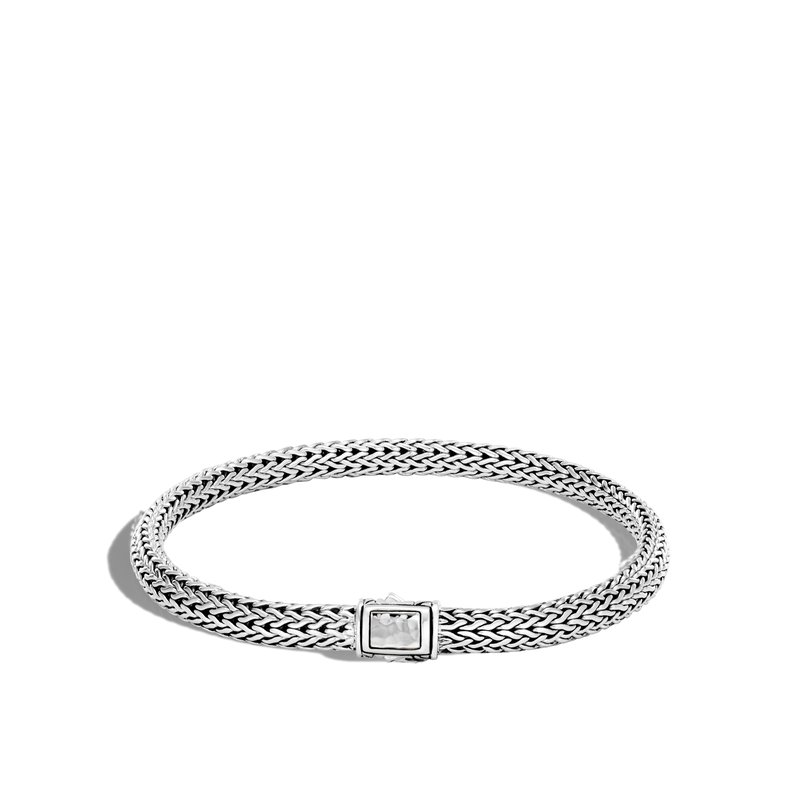 JOHN HARDY Classic Chain 5MM Hammered Clasp Bracelet in Silver