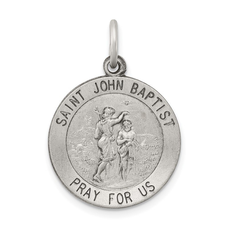 JC Sipe Essentials Sterling Silver Antiqued Saint John the Baptist Medal