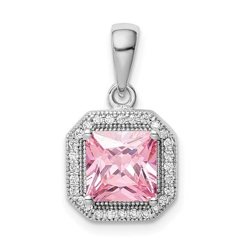 Sterling Silver Rhodium Plated Clear CZ and Square Pink CZ Pendant