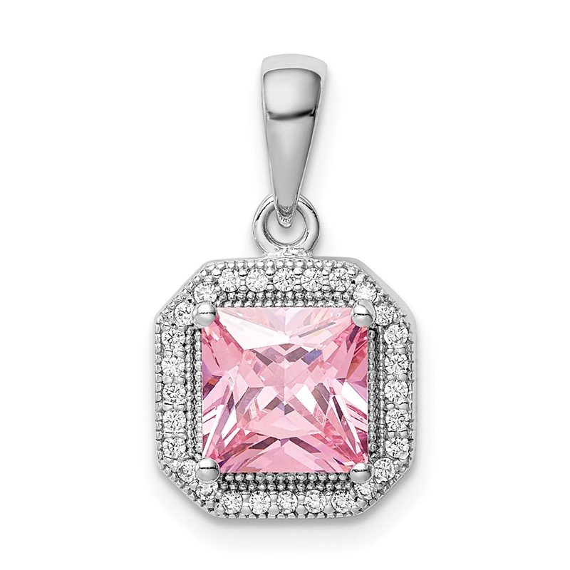 Quality Gold Sterling Silver Rhodium Plated Clear CZ and Square Pink CZ Pendant