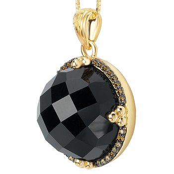 14ky Brown Diamond and Black Onyx Pendant