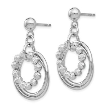 Leslie's SS Polished and D/C Post Dangle Hoop Earrings