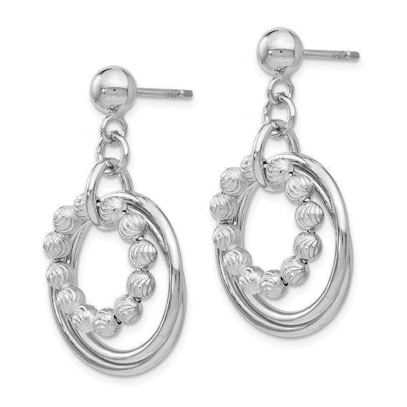 Leslie's Leslie's SS Polished and D/C Post Dangle Hoop Earrings